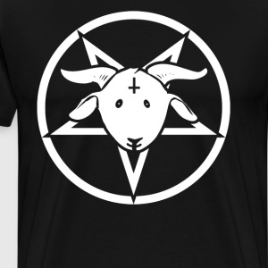 Happy Goat - Pentagram with Inverted Cross - Men's Premium T-Shirt