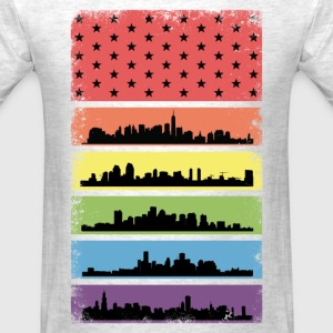 Rainbow Skyline LGBT Flag T-Shirts - Men's T-Shirt