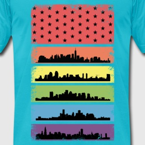 Rainbow Skyline LGBT Flag T-Shirts - Men's T-Shirt by American Apparel