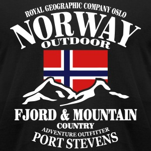 Fjord & Mountain - Norway Flag T-Shirts - Men's T-Shirt by American Apparel
