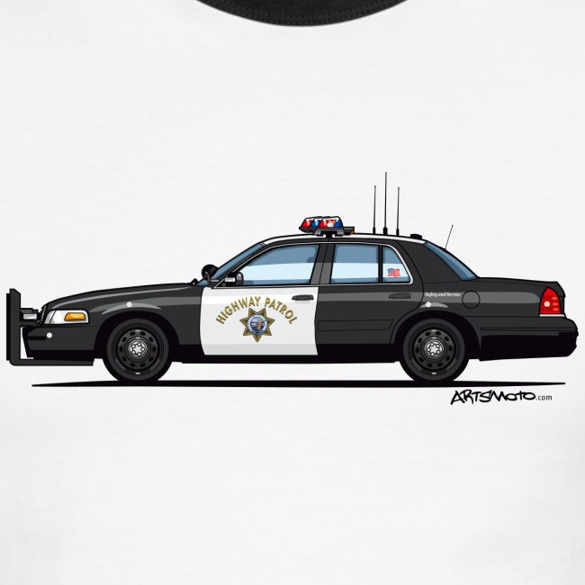 59fa18dff6a California Highway Patrol Ford Crown Victoria Police Interceptor | Men's  Ringer T-Shirt