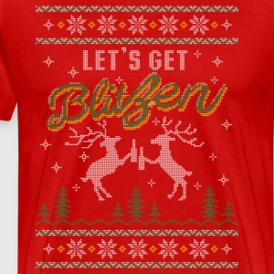 UGLY HOLIDAY SWEATER LET'S GET BLITZEN T-Shirts - Men's Premium T-Shirt
