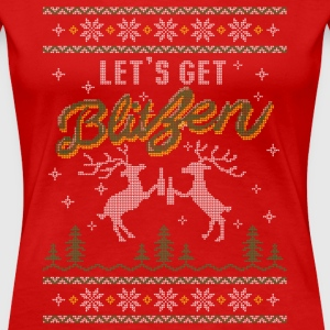 UGLY HOLIDAY SWEATER LET'S GET BLITZEN Women's T-Shirts - Women's Premium T-Shirt