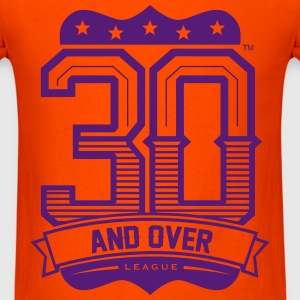 ORANGE AND PURPLE 30 AND OVER LEAGUE TEE - Men's T-Shirt