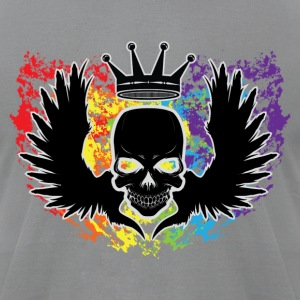 Skull With Wings & Crown Rainbow T-Shirts - Men's T-Shirt by American Apparel