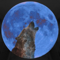 Galaxy Wolf and blue moon T-Shirts