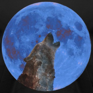 Galaxy Wolf and blue moon T-Shirts - Men's T-Shirt by American Apparel