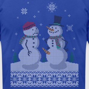 UGLY HOLIDAY SWEATER HAPPY SNOWMAN CARROT THIEF T-Shirts - Men's T-Shirt by American Apparel