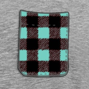 Blue/Teal Buffalo Plaid Fake Pocket T - Men's Premium T-Shirt