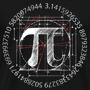 Pi Symbol Drawing, White - Men's Premium T-Shirt