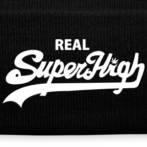 Real SuperHigh Beanie Red - Knit Cap with Cuff Print