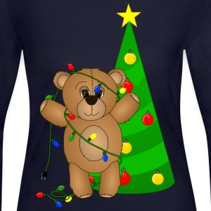 Teddy Bear at Christmas T-Shirt - Women's Long Sleeve Jersey T-Shirt