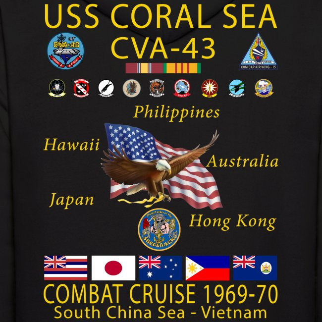 USS CORAL SEA 1969-70 CRUISE HOODIE