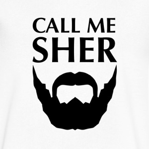 Call Me Sher (Bearded Lion) White V-Neck - Men's V-Neck T-Shirt by Canvas