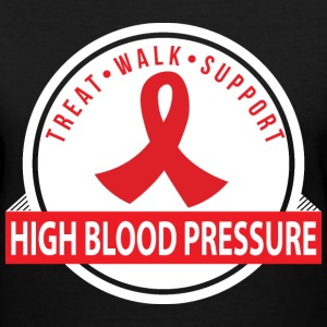 High Blood Pressure Treat Walk Support Ribbon Women's T-Shirts - Women's V-Neck T-Shirt