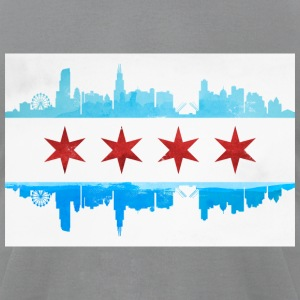 CHICAGO SKYLINE FLAG T-Shirts - Men's T-Shirt by American Apparel