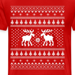 Moose Pattern Christmas Sweater T-Shirts - Men's Premium T-Shirt