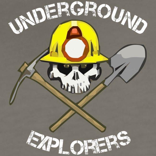 Underground Explorers Women's Asphalt (white text) Fitted Logo Tee