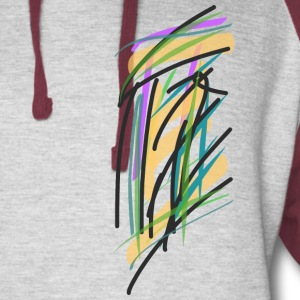 Hoodie with abstract courthouse - Colorblock Hoodie