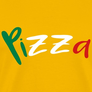 Pizza text lettering logo design italy flag colors T-Shirts - Men's Premium T-Shirt