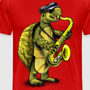 Cool Jazz Sax Playing Turtle - Men's Premium T-Shirt