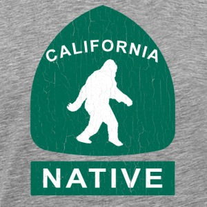 California Native Bigfoot Sign (vintage look) - Men's Premium T-Shirt