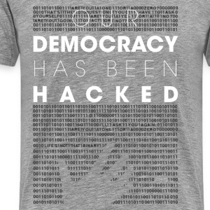 Mr Robot fsociety hacked democracy quotes T-Shirts - Men's Premium T-Shirt