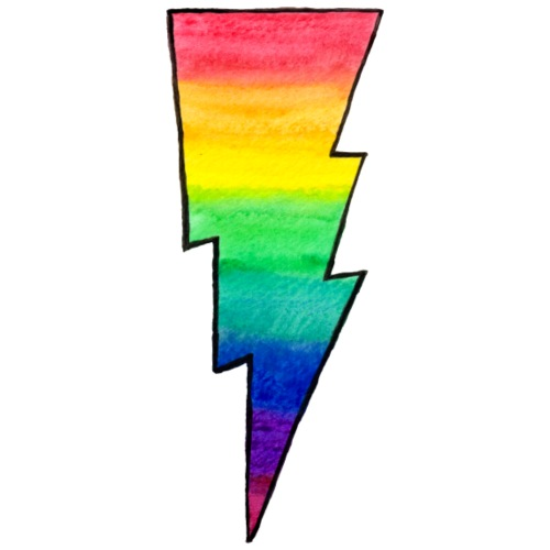 Rainbow Lightning Bolt - outlines