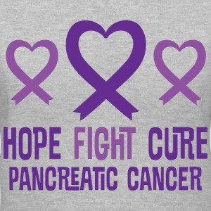 Pancreatic Cancer Hope Fight Cure Ribbon Women's T-Shirts - Women's V-Neck T-Shirt