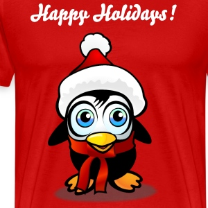 Baby Penguin With Xmas Hat - Men's Premium T-Shirt