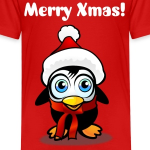 Baby Penguin With Xmas Hat - Toddler Premium T-Shirt
