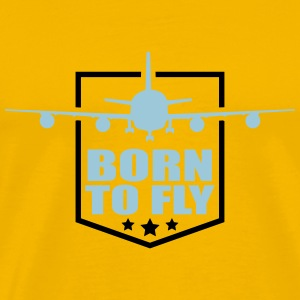 Design born to fly logo wing aircraft pilot crest T-Shirts - Men's Premium T-Shirt