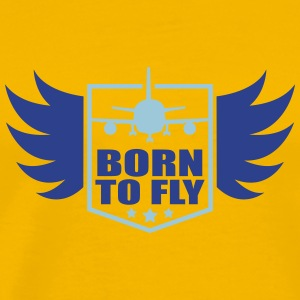 born to fly logo wing aircraft pilot crest T-Shirts - Men's Premium T-Shirt