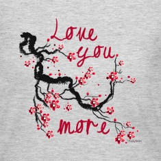 Love You More Cherry Blossom - Grey Long Sleeve