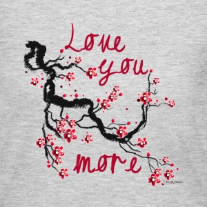 Love You More Cherry Blossom - Grey Long Sleeve - Women's Long Sleeve Jersey T-Shirt
