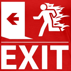 emergency fire exit sign Women's T-Shirts - Women's Premium T-Shirt