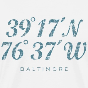 Baltimore Coordinates T-Shirt (Men/White) - Men's Premium T-Shirt