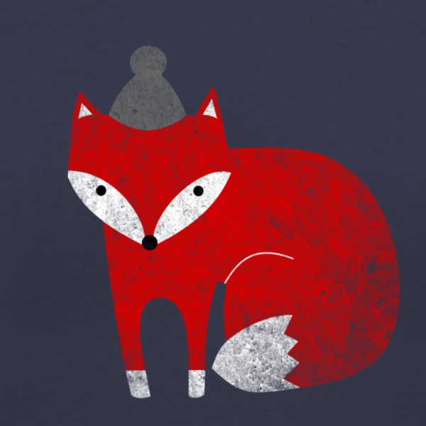 Fox with hat winter - Women's V-Neck T-Shirt