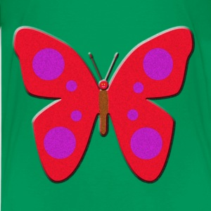 Red and Purple Spotted Butterfly Art Kids' Shirts - Kids' Premium T-Shirt