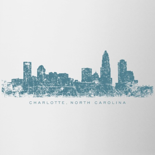 Charlotte, North Carolina Skyline Vintage Blue