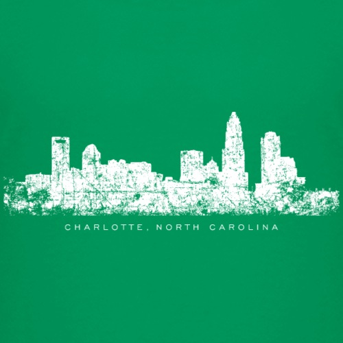 Charlotte, North Carolina Skyline Vintage White