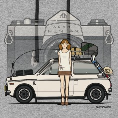 Honda N600 Rally Kei Car With Asahi Pentax Girl Hoodies