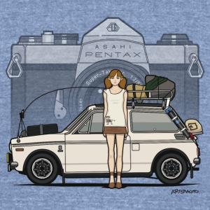 Honda N600 Rally Kei Car With Asahi Pentax Girl T-Shirts - Unisex Tri-Blend T-Shirt by American Apparel