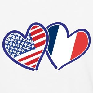 USA France Heart Flags - Baseball T-Shirt