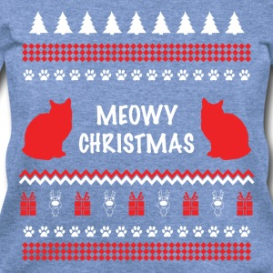 Meowy Christmas Funny Ugly Sweater For Cat Lovers Long Sleeve Shirts - Women's Wideneck Sweatshirt