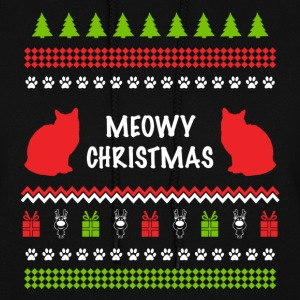 Meowy Christmas Funny Ugly Sweater For Cat Lovers Hoodies - Women's Hoodie