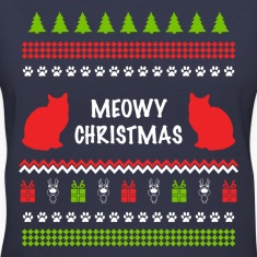Meowy Christmas Funny Ugly Sweater For Cat Lovers Women's T-Shirts