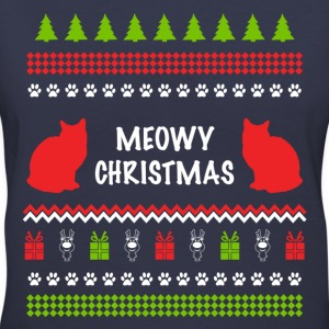 Meowy Christmas Funny Ugly Sweater For Cat Lovers Women's T-Shirts - Women's V-Neck T-Shirt
