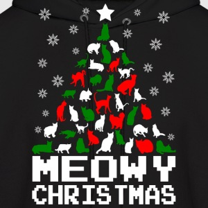 Meowy Christmas Cat Tree Ugly Hoodies - Men's Hoodie