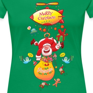 Santa has a Zeppelin to Deliver Xmas Gifts Women's - Women's Premium T-Shirt